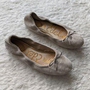 Sam Edelman Felicia Grey Suede Ballet Flats Shoes